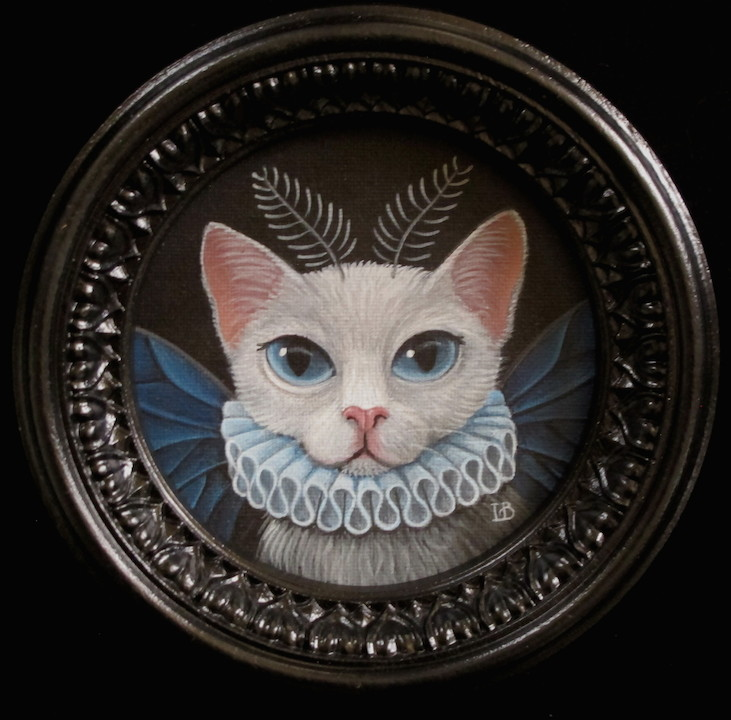 Laine Bachman cat butterfly kitten kitty caterfly animal fantasy surrealism realism lace painting portrait Sherrie Gallerie Short North Art Gallery Columbus Ohio