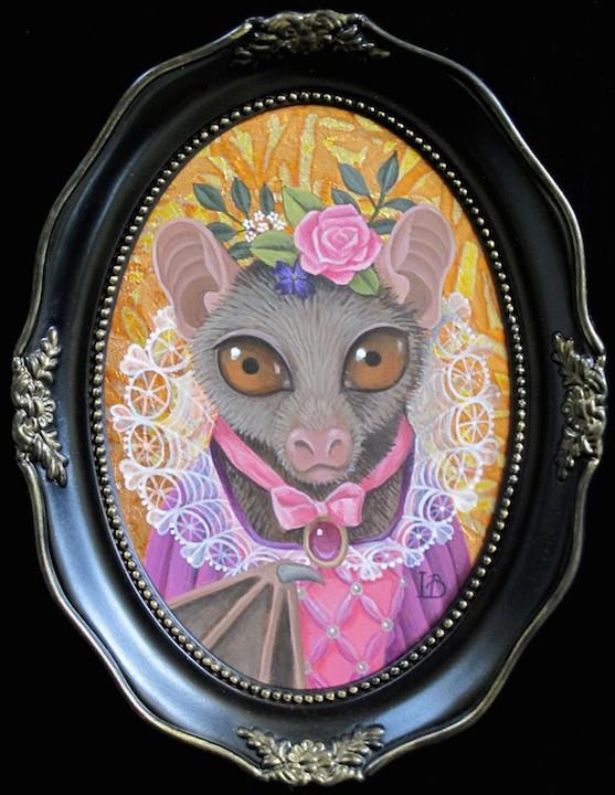 Laine Bachman Bat royalty animal fantasy surrealism realism gold painting portrait Sherrie Gallerie Short North Art Gallery Columbus Ohio