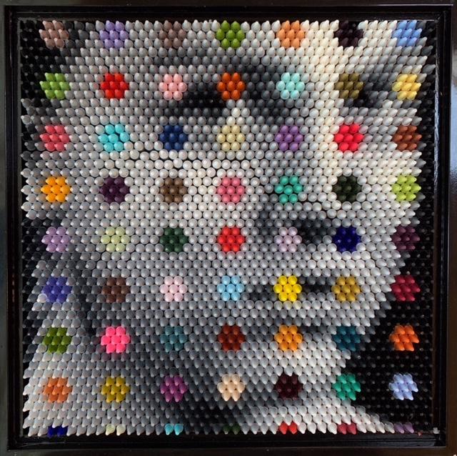 Christian Faur melodie series crayon art pointillism damien hirst portrait sherrie gallerie short north art gallery columbus ohio