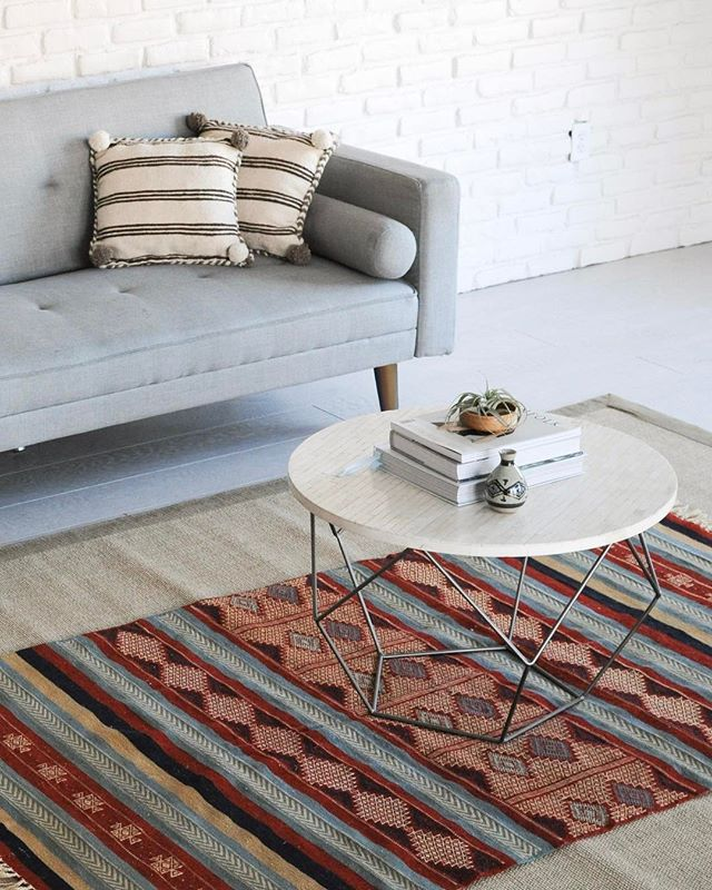 Tribal Kilim Rug |  A perfect match for for small kids, dogs and everything in between - tight weave and bright color scheme conceal life's messes with ease |  Find it under Objects