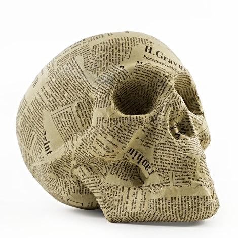 Newsprint Skull - large