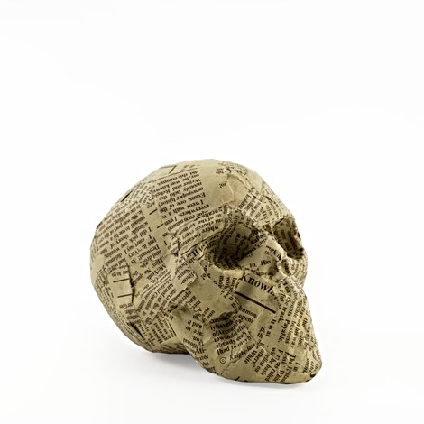 Newsprint skull - small