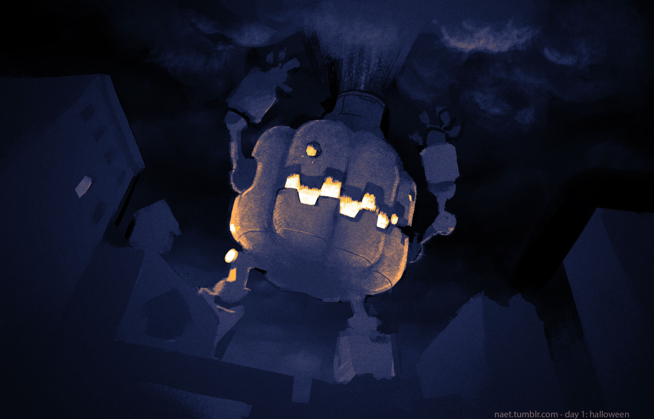 draw30: Attack of the giant robot jack-o'-lantern!