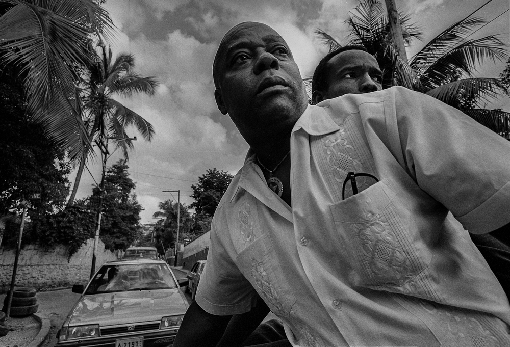 Port-au-Prince, Haiti 1990: Security for an Aristide and others moving from one site to another.