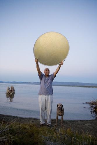 Steve Harper and his dog Shadow, Mono Lake, 2006 -- by Joe Reifer