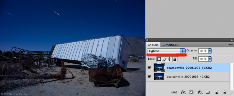 Lighten Blending Mode in Photoshop to Stack Star Trails -- by Joe Reifer