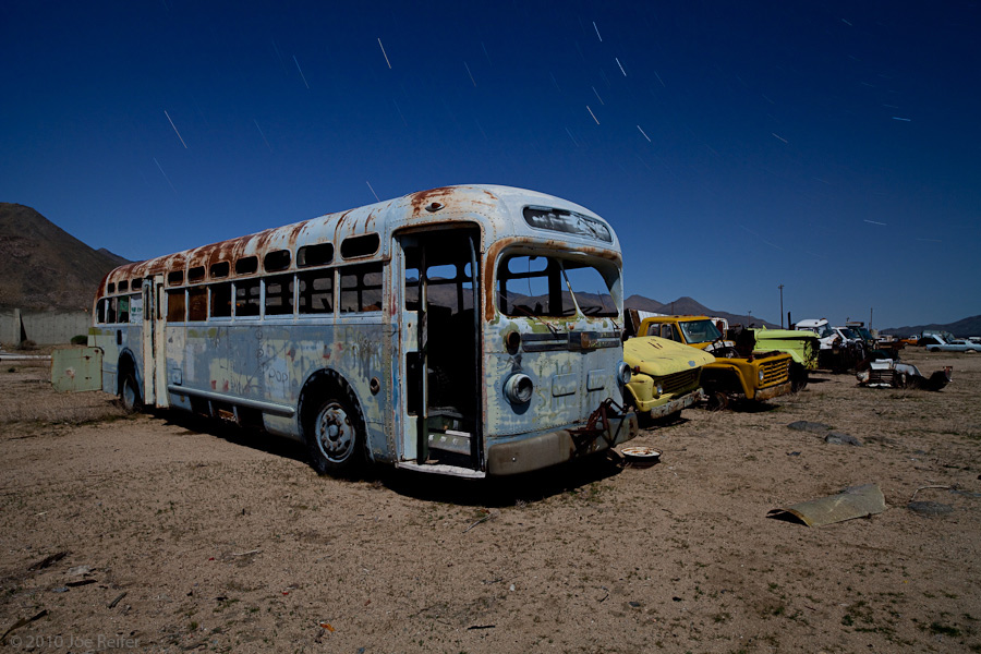 The blue bus is calling us (Pearsonville) -- by Joe Reifer
