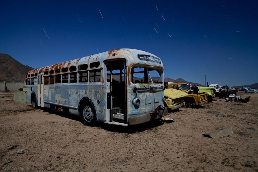 The blue bus is calling us (Pearsonville) -- by Joe Reifer