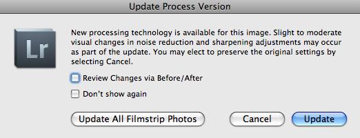 update process version dialog box