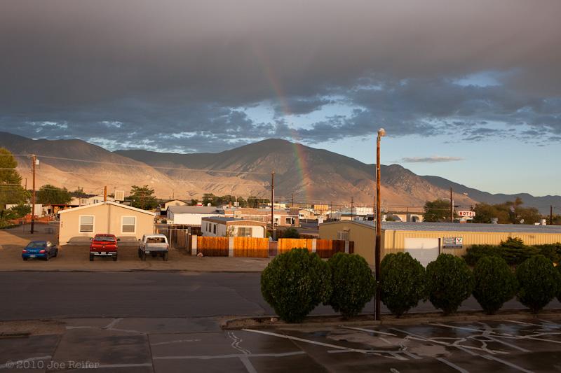 Sunrise with rainbow: Hawthorne, Nevada -- by Joe Reifer