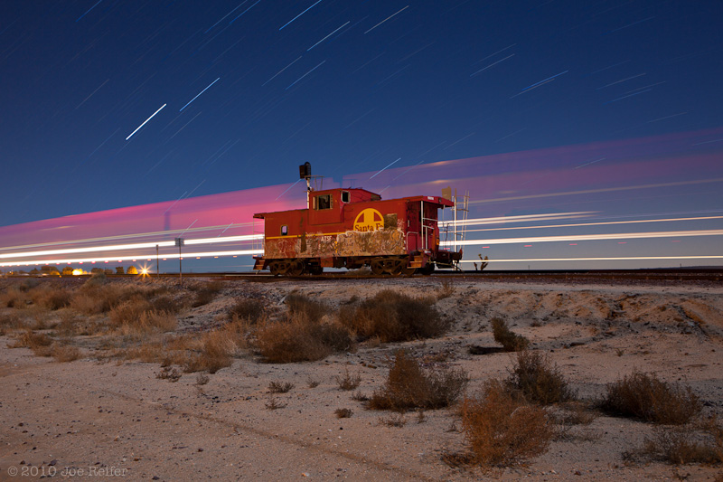 Santa Fe Caboose on the Night Plain II - by Joe Reifer