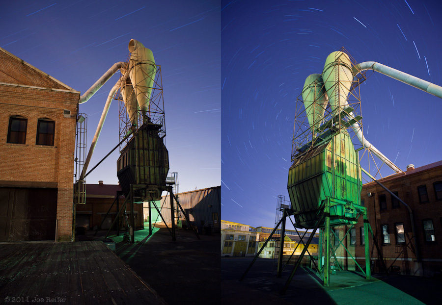 Mare Island Naval Shipyard night photography: 30-minute exposure diptych -- by Joe Reifer