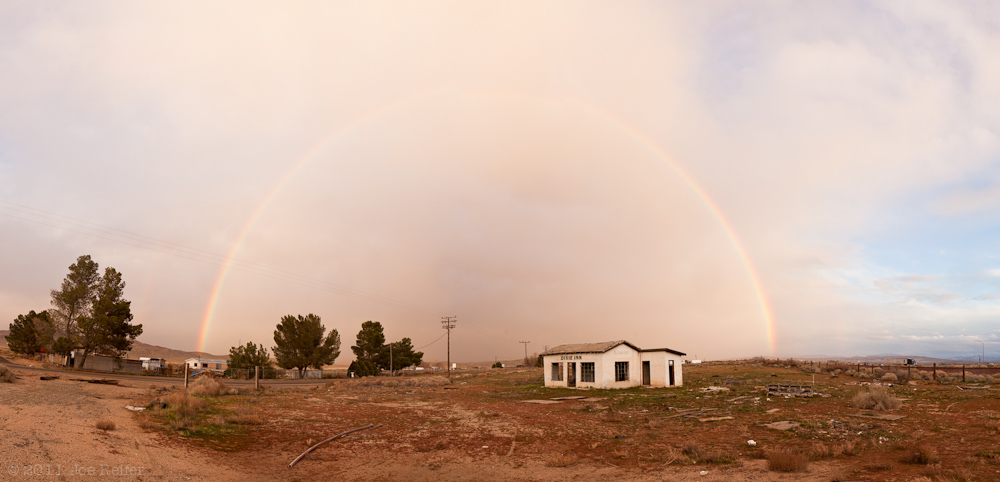 A rainbow at sunset over the Dixie Inn -- by Joe Reifer