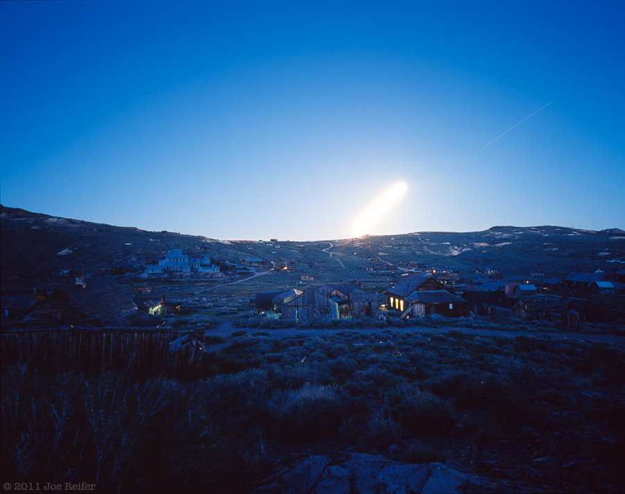 Moonrise over Bodie ghost town -- by Joe Reifer
