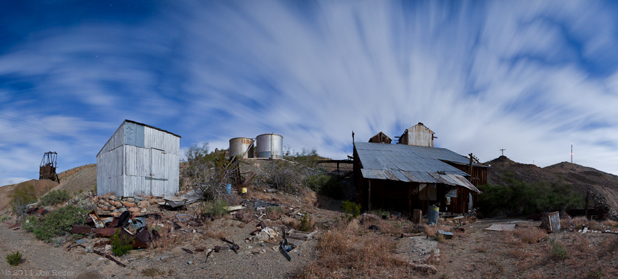Abandoned gold mine night panorama -- by Joe Reifer