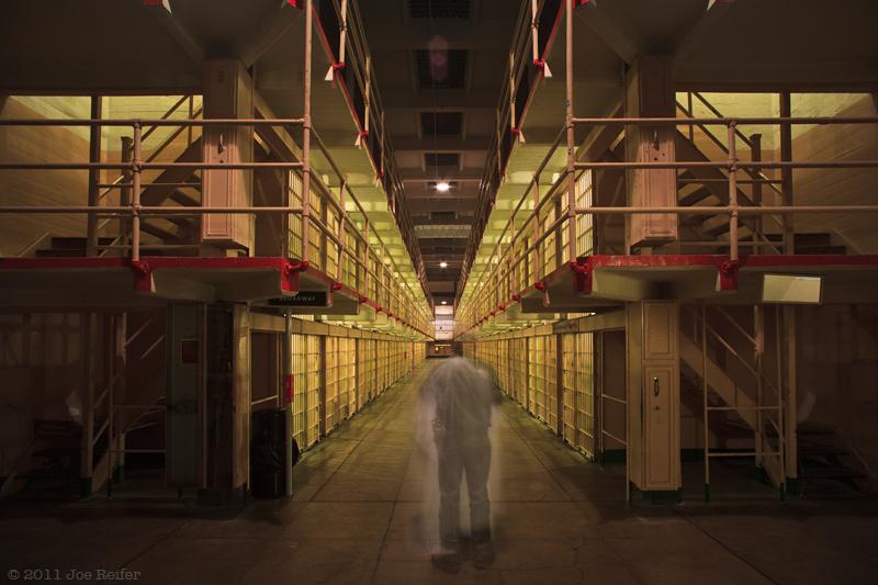 Alcatraz prison at night: Ghost dance in a haunted cell block -- by Joe Reifer