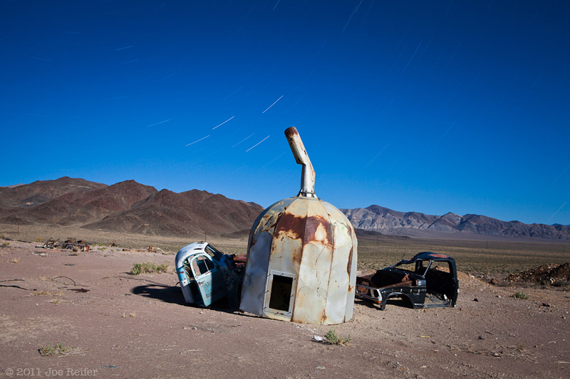 Long exposure of trucks and mining equipment in Kinkaid Nevada -- by Joe Reifer