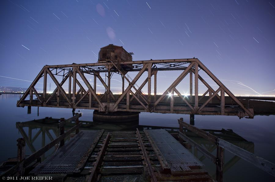Dumbarton swing bridge at night -- by Joe Reifer