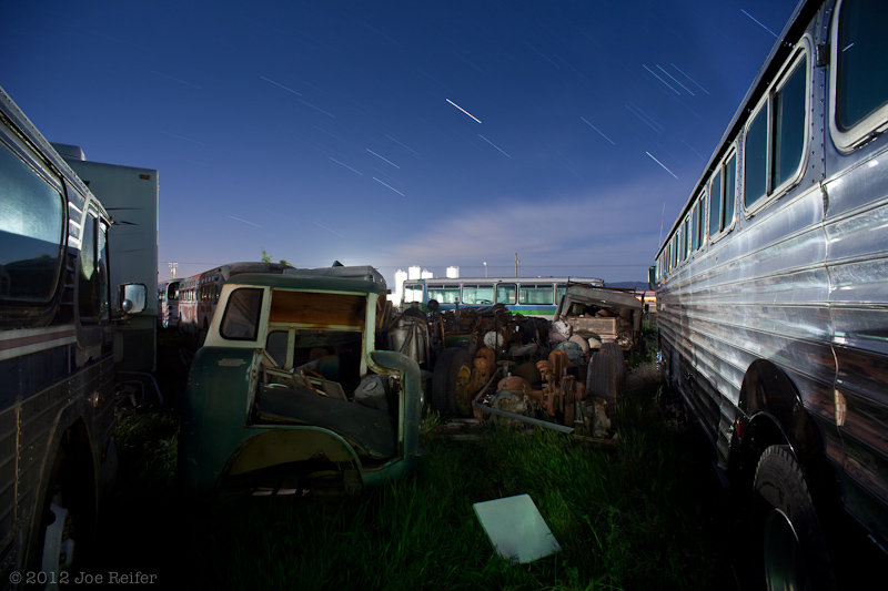 Outside the bus yard workshop -- by Joe Reifer