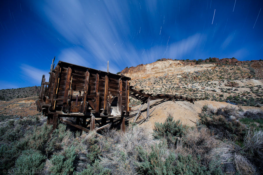 Grantsville ghost town ore bin under the stars -- by Joe Reifer