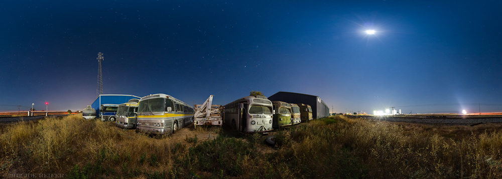 Night photography 360 panorama: Classic motorcoaches under the moonlight