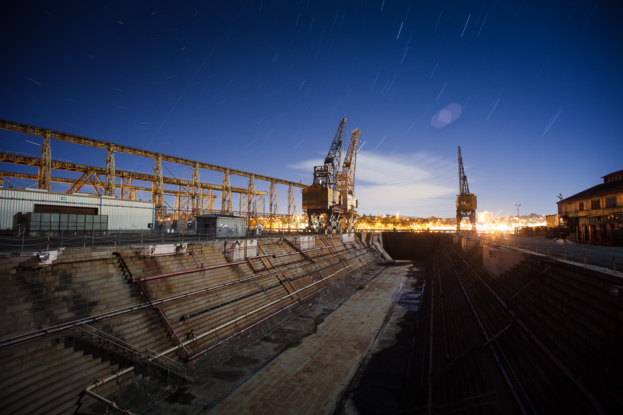 Mare Island Drydock and Cranes Before the Fog Came In -- by Joe Reifer