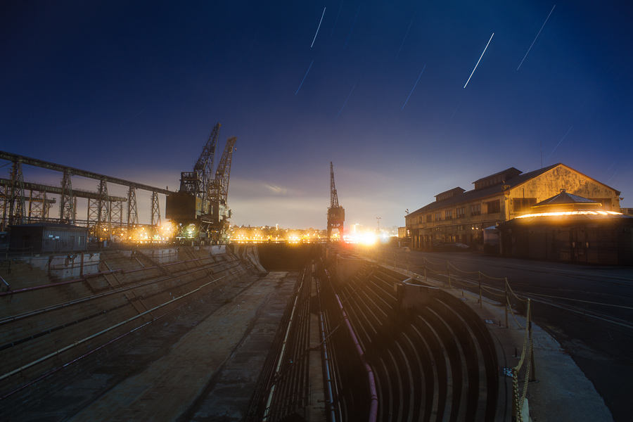 Mare Island Drydock and Cranes on a Foggy Night -- by Joe Reifer