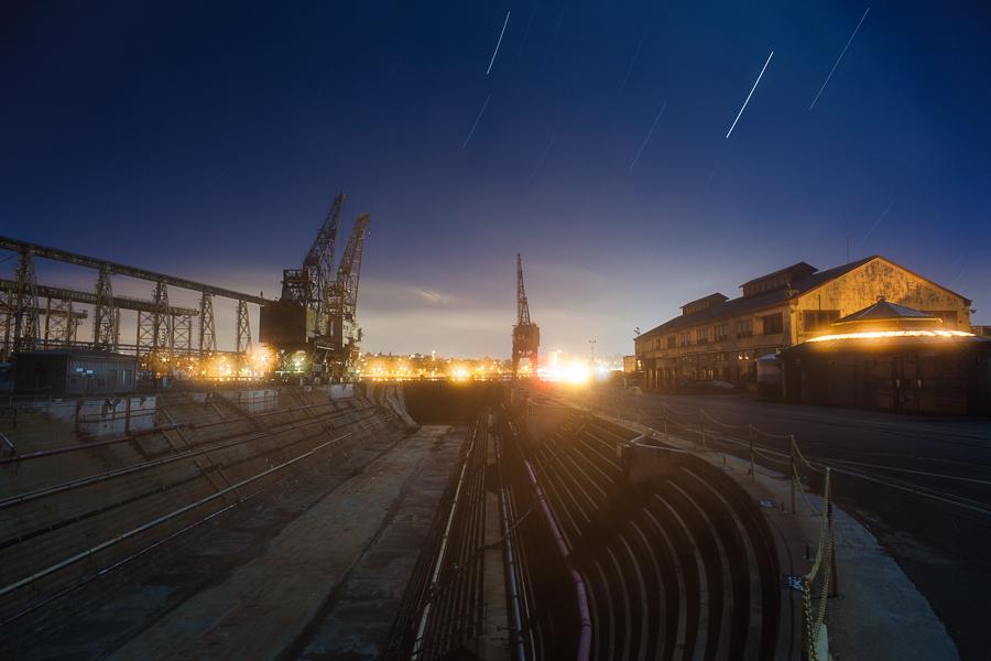 Mare Island Drydock and Cranes on a Foggy Night -- by Joe Reifer