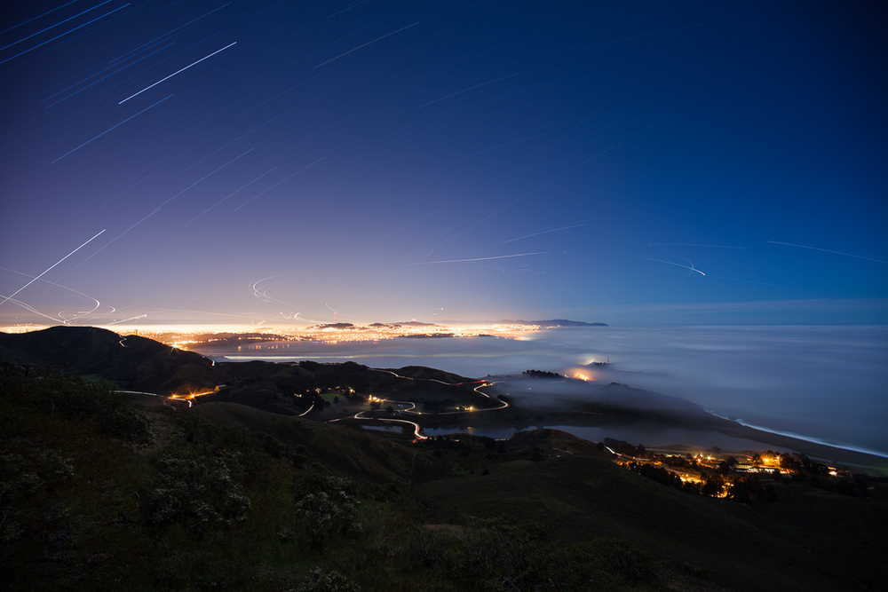 San Francisco at night from the Marin Headlands -- by Joe Reifer