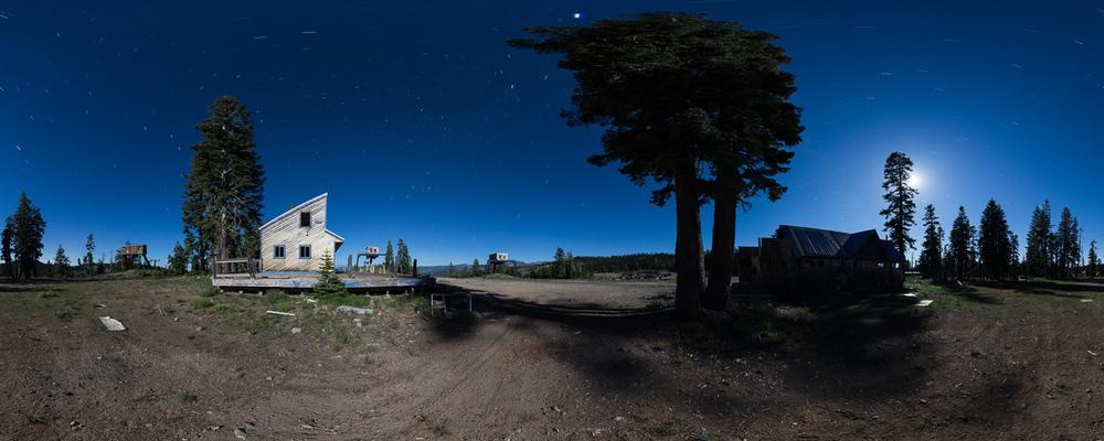 Abandoned ski resort 360 night panorama