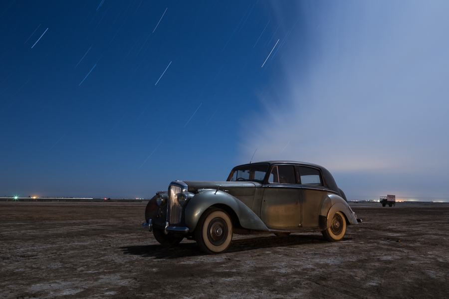 Vintage Bentley under the stars at Eagle Field