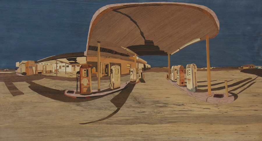 Desert Center Gas Station Full Moon 360 Panorama -- marquetry version by Ian Smith