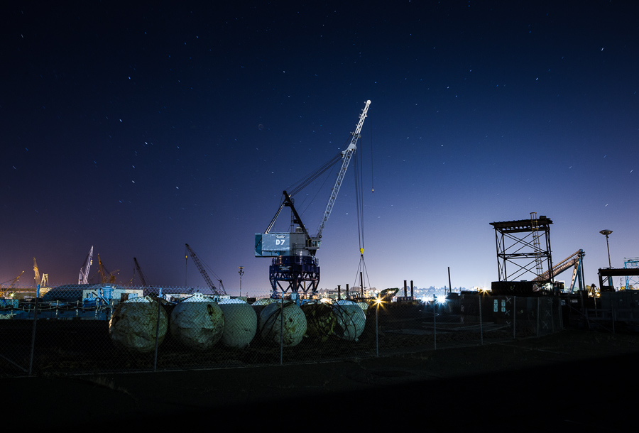 Mare Island buoys and cranes at night