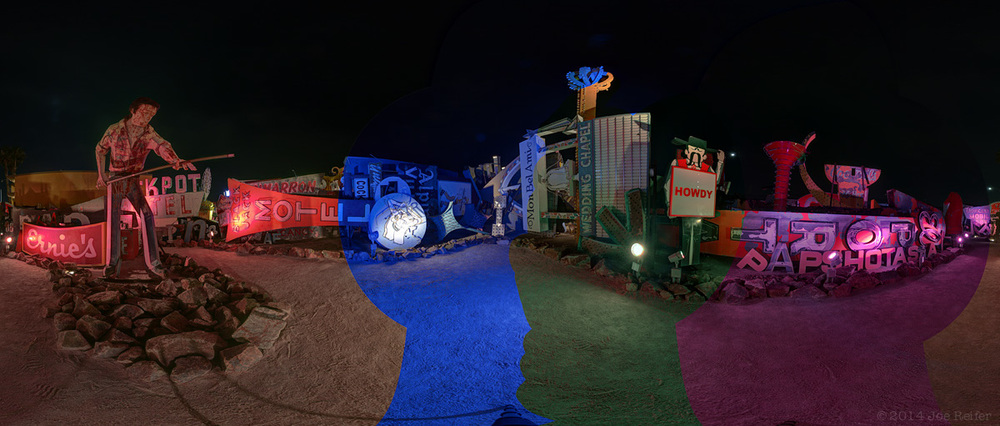 Las Vegas Neon Museum 360 Degree Night Panorama - Unblended