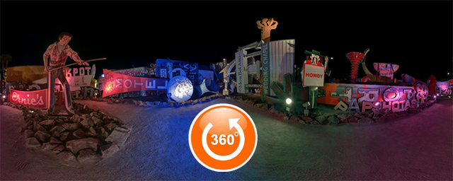 Ernie's - a 360 degree night panorama of the Las Vegas Neon Museum