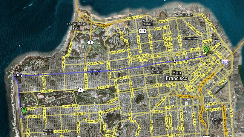 Walking All of Geary Street Route Map