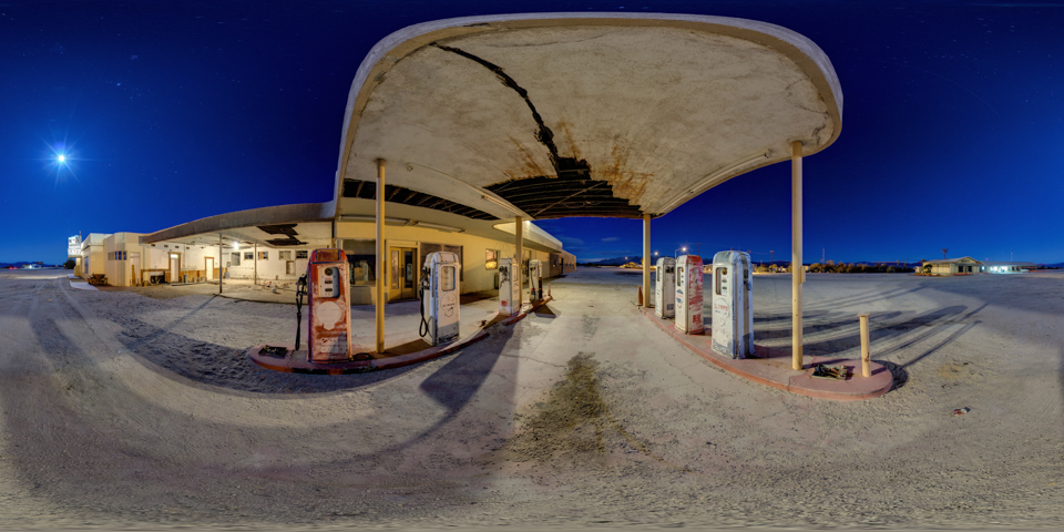 Desert Center Gas Station 360 Night Panorama
