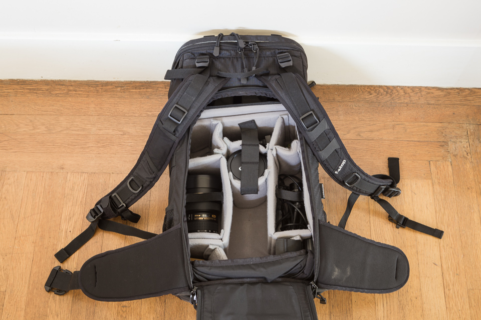f-stop Loka with Large Pro ICU. The empty section holds an EOS 6D with a 24-70mm f/2.8L lens mounted