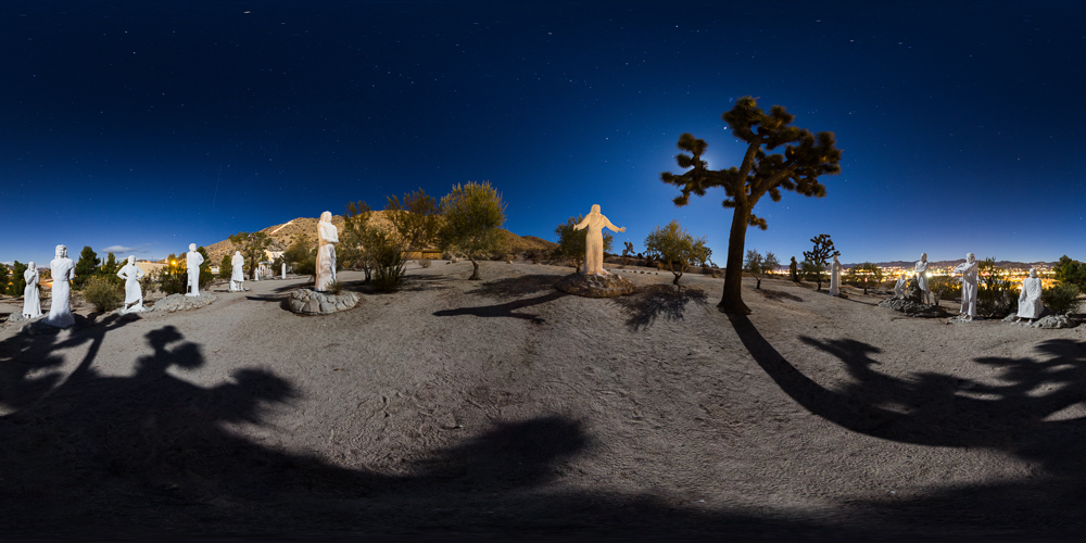 360 Night Panorama of Desert Christ Park in Yucca Valley