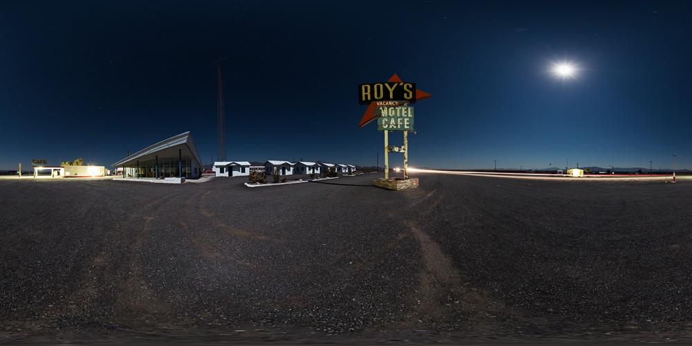 360 night panorama of roys motel cafe amboy california