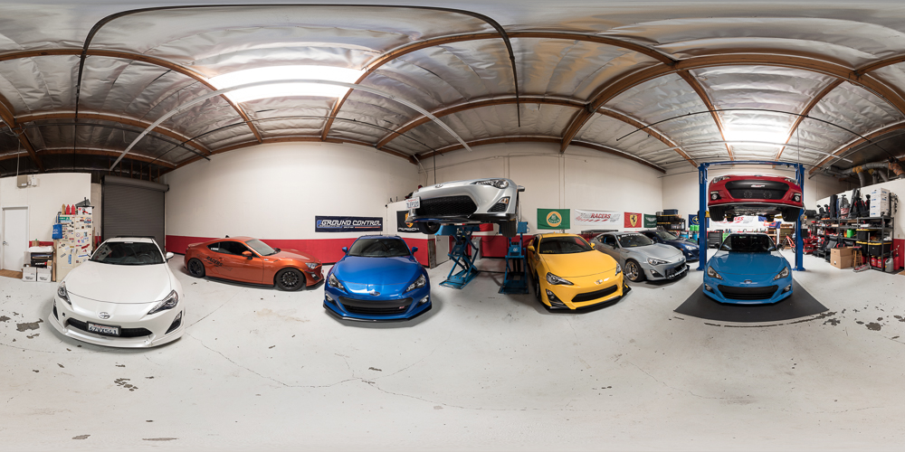 A 360 panorama of The Racers Line featuring almost all of the colors of the FR-S and BRZ.