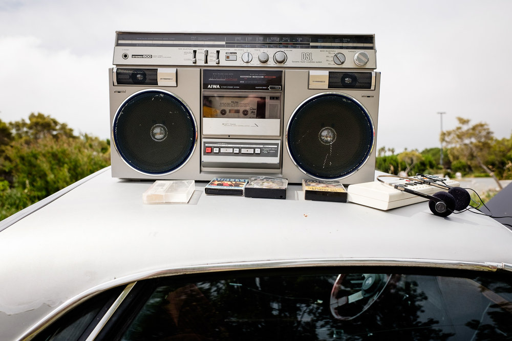 One of many nice 80's details - a vintage boombox with tapes.