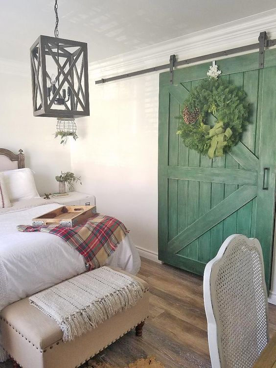 Christmas cabin indoor door wreath.jpg