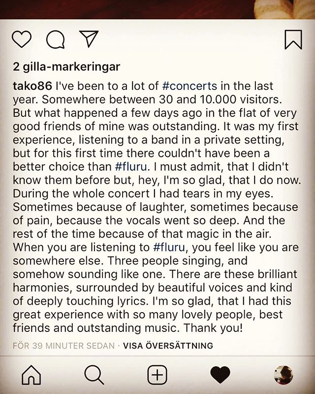 Sometimes people ask us why we write and play music, and this beautiful post on instagram is certainly one of the reasons. When people feel something because of our music, it's the greatest thing -  and the only reward we'll ever need ❤️ #music #livemusic #wherethewildthingsgrow
