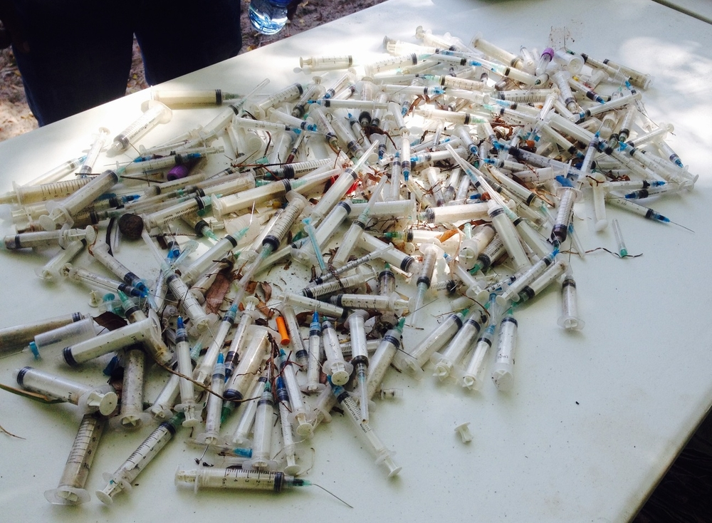 Used Syringes found during a beach clean up