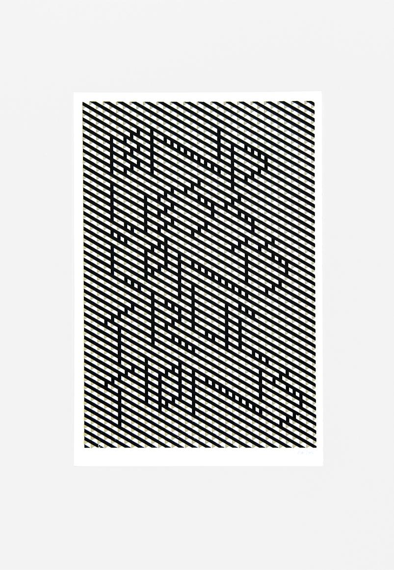 endless constructions -2016 Serigrafia dos colores Dimensiones w:30,5 cm h:45,5cm Serie de 11 $30.000.-