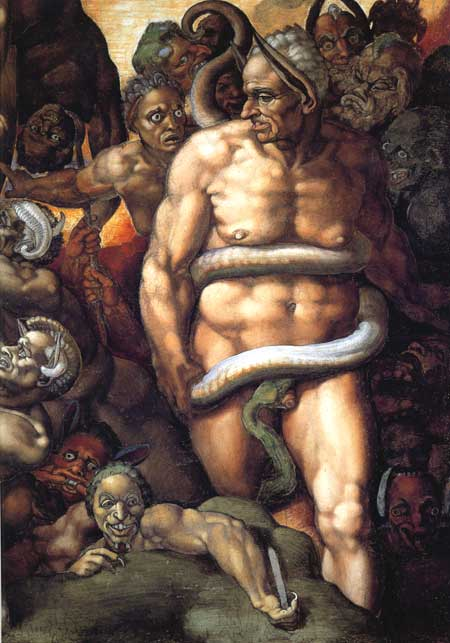 Minos with the face of a Cardinal in the The Last Judgement (Michelangelo) Photo credit: Italian Renaissance Art