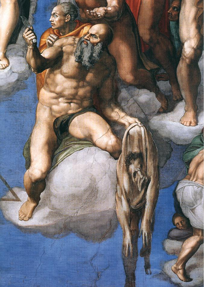 Saint Bartholomew and his skin with Michelangelo's face in The Last Judgement (Michelangelo) Photo credit: Wikipedia Commons