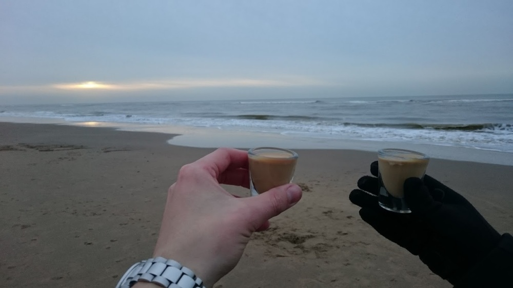 Toasting the end of 2015, and the beginning of 2016, at Zandvoort Beach, Netherlands.
