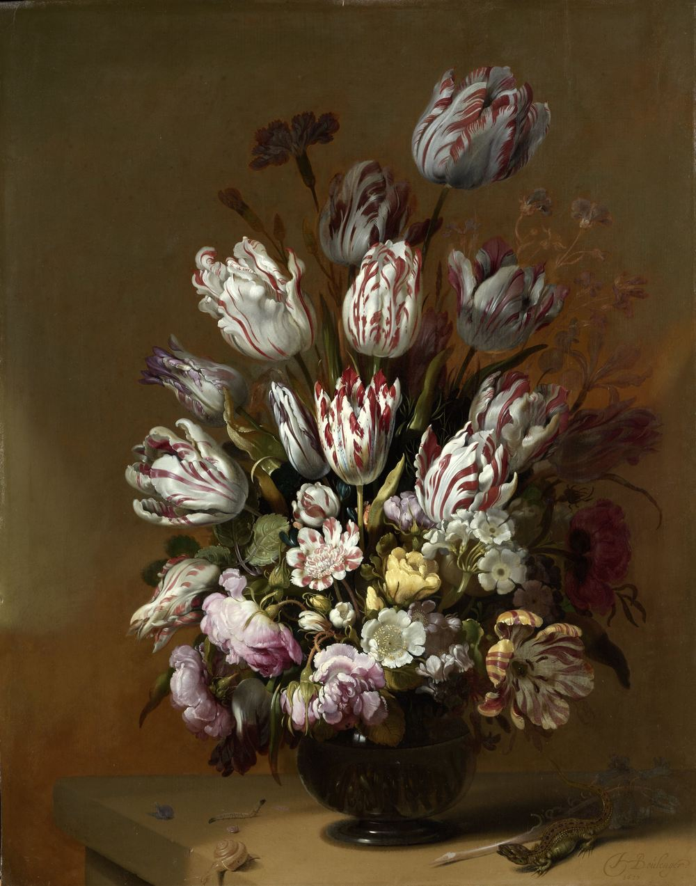 Floral Still Life, Hans Boulenger (1639), Rijksmuseum, was painted shortly after the crash of the tulip market.